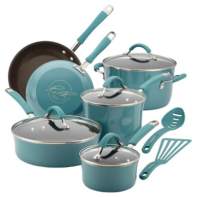 Rachael Ray Cucina Porcelain Aluminum Agave Blue 12pc Cookset