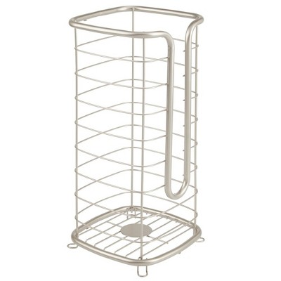 mDesign Metal Free Standing Toilet Paper Stand, Holds 3 Rolls