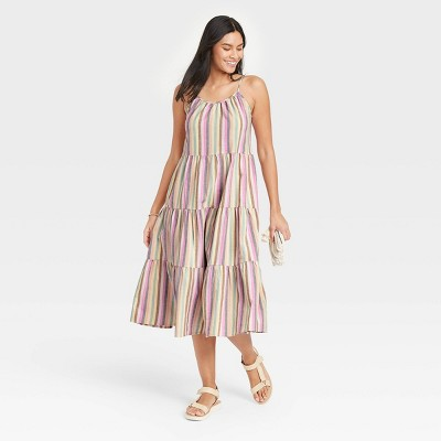 Women's Striped Sleeveless Tiered Dress - Universal Thread™