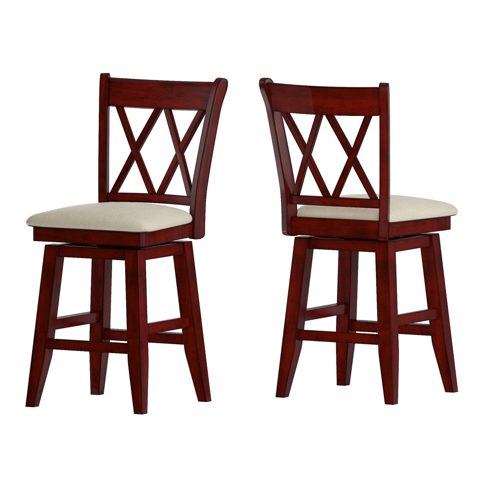 24 South Hill Double X Back Swivel Counter Height Chair Red - Inspire Q