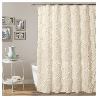 Shower Curtain Ruffle Diamond Ivory - Lush Décor