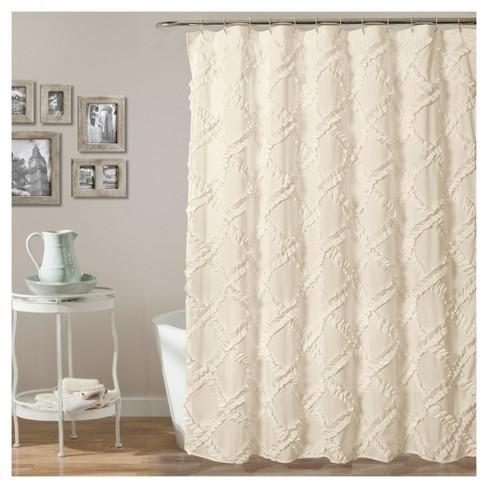 Ruffle Diamond Shower Curtain