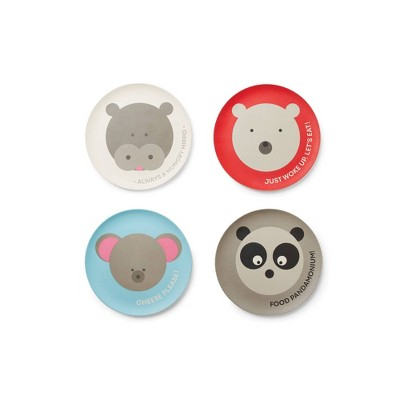 "7.8"" 4pk Bamboo Fiber Animal Plates - Red Rover"