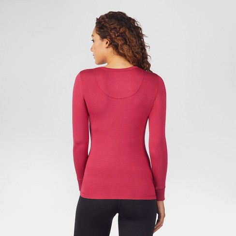 597a98ab99276 Warm Essentials® By Cuddl Duds® Women s Smooth Stretch Thermal Scoop Neck  Top - Rich Red S   Target