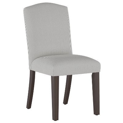Camel Back Dining Chair Oxford Stripe Charcoal - Skyline Furniture