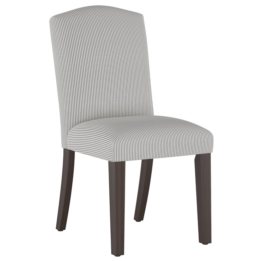 Camel Back Dining Chair Oxford Stripe Charcoal Skyline Furniture