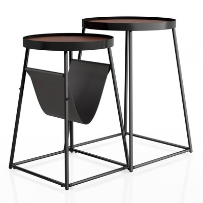 Quinlane Nesting Table with Magazine Holder Walnut/Matte Black - miBasics