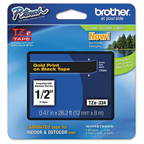 Brother P-Touch TZe Standard Adhesive Laminated Labeling Tape - Gold/Black - image 1 of 1