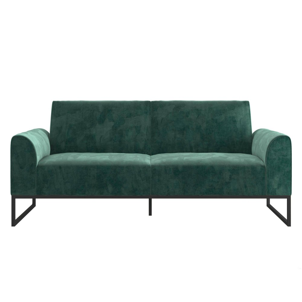 Image of Adley Velvet Fabric Coil Futonwith Metal Base Teal - CosmoLiving by Cosmopolitan