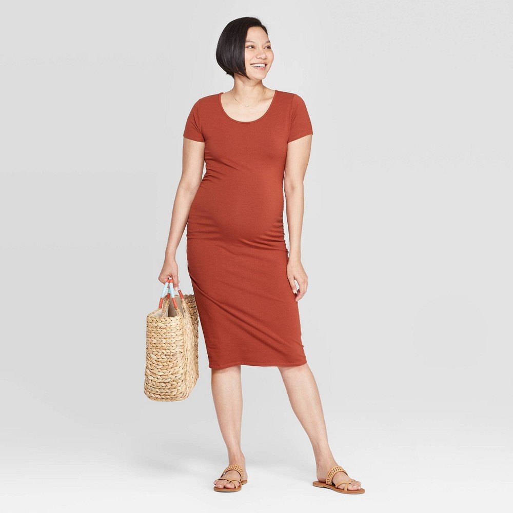 Short Sleeve Shirred T-Shirt Maternity Dress - Isabel Maternity by Ingrid & Isabel Brown XXL was $24.99 now $10.0 (60.0% off)