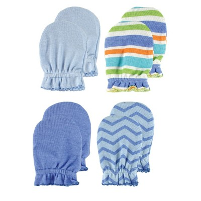 Luvable Friends Baby Boy Cotton Scratch Mittens 4pk, Blue Solid, One Size