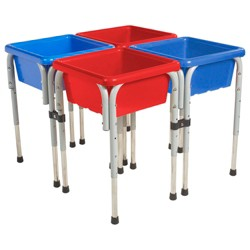 ECR4Kids 4-Station Sand and Water Adjustable Activity Play Table Center with Lids, Square, Red/Blue