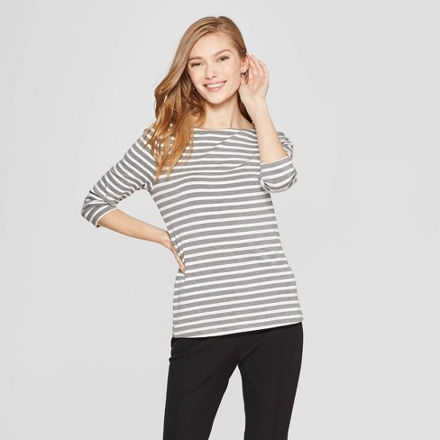 Women's Striped 3/4 Sleeve Clean Boat Neck T-Shirt - A New Day™ - image 1 of 3