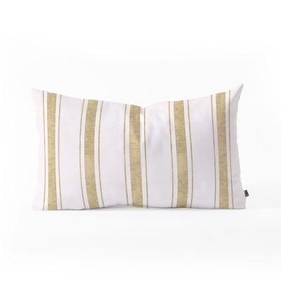 Holli Zollinger Aegean Jute Stripe Lumbar Throw Pillow Gold - Deny Designs