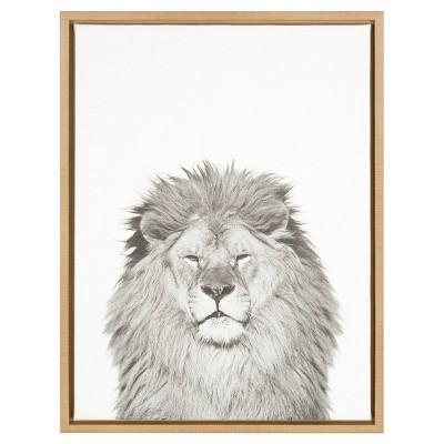 """24"""" x 18"""" Lion Framed Canvas Art - Uniek"""