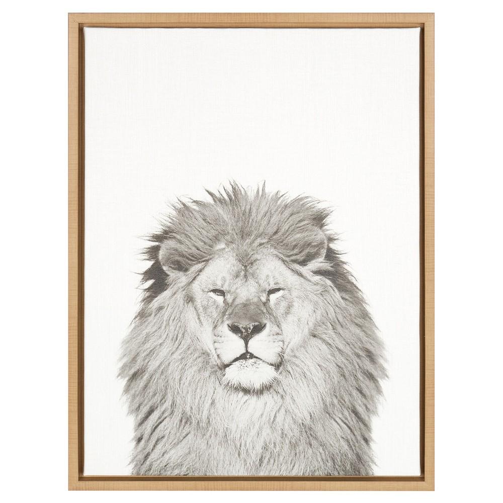 "Image of ""24"""" x 18"""" Lion Framed Canvas Art Natural - Uniek"""