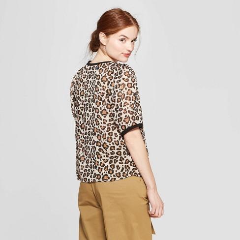 24c41ad753 Women s Leopard Print Woven Short Sleeve T-Shirt - A New Day™ Tan   Target