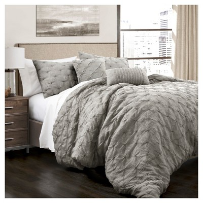 Gray Ravello Pintuck Comforter Set 5pc (Full/Queen)- Lush Decor®