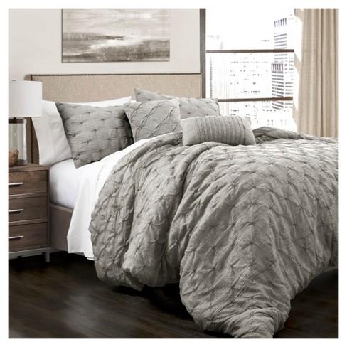 Comforter Sets.Gray Ravello Pintuck Comforter Set 5pc King Lush Decor