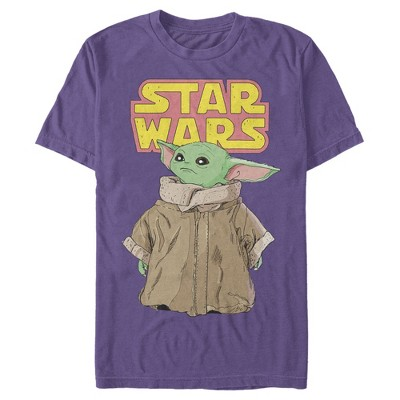 Men's Star Wars The Mandalorian The Child Retro Logo Stance T-Shirt