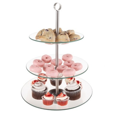 3-Tier Dessert Stand-Tempered Round Glass Display Tower for Cupcakes, Cookies, Fruit, Appetizers-Buffet, Wedding, Party Serveware by Hastings Home