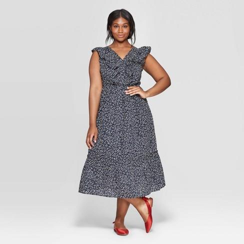 a47926779718e Women's Plus Size Floral Print Sleeveless Ruffle V-Neck Maxi Dress - Who  What Wear™ Jet Black 3X : Target
