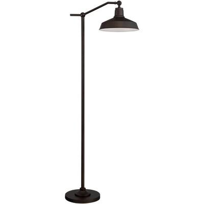 360 Lighting Modern Downbridge Floor Lamp Satin Bronze Metal Shade Step Switch for Living Room Reading Bedroom Office
