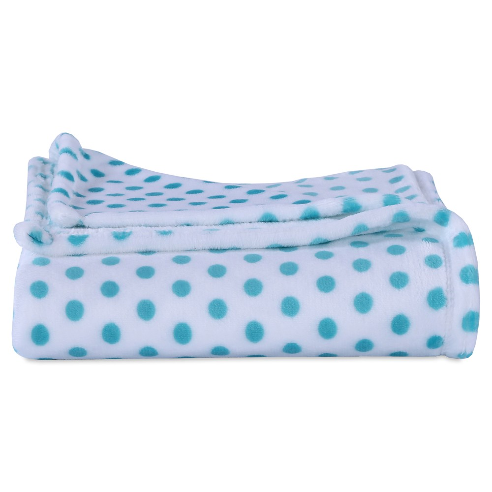 """Image of """"Throw Blankets Blue With Polka Dot (50""""""""X60"""""""") - Better Living, Lagoon"""""""