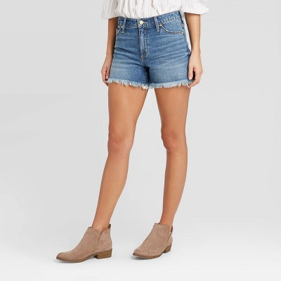 """NEW Women/'s High-Rise /""""SHORTIE SHORTS/"""" Comfort Stretch Jean Shorts SIZE 4-18"""