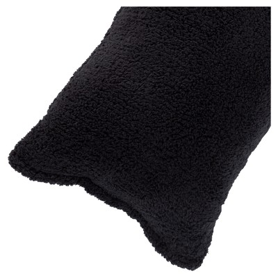 """Soft Sherpa Body Pillow Cover (52""""x18"""")Black - Yorkshire Home"""