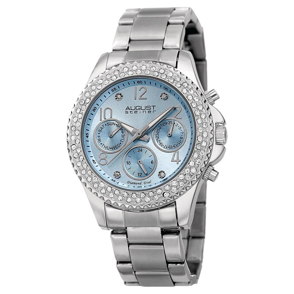 Women's August Steiner Quartz Genuine Diamond Bracelet Watch - Silver with Blue Dial, Silver/Black