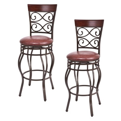 Set of 2 Vintage Bar Stools Swivel Padded Seat 30'' Bistro Dining Kitchen Pub Chair High Back