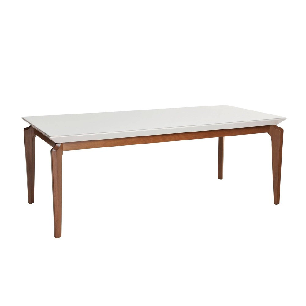 72.04 Payson Natural Wood Modern Rectangular Dining Table with Glass Top and Curved Legs Gloss White - Manhattan Comfort