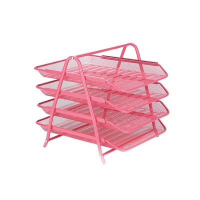 Mind Reader Desk Organizer with 4 Sliding Trays Pink