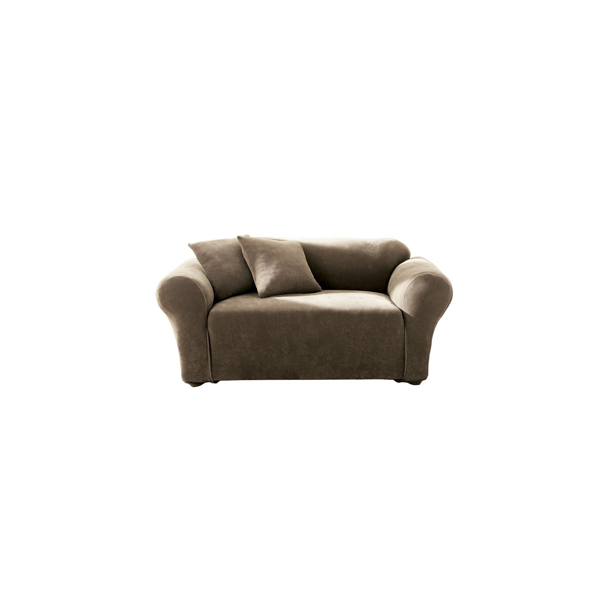 Stretch Pique Loveseat Slipcover Taupe - Sure Fit, Brown