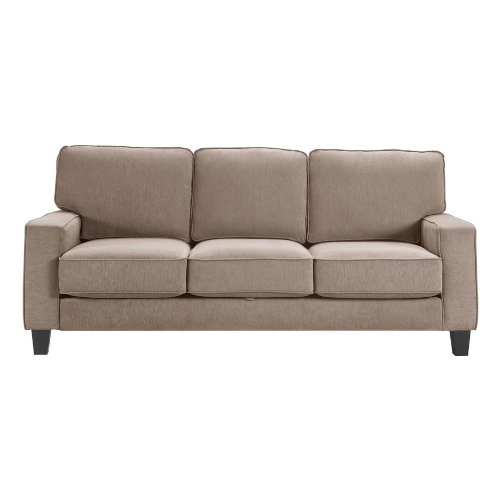 "Image of ""77"""" Palisades Track Arm Fabric Sofa with Storage Soft Tan - Serta"""