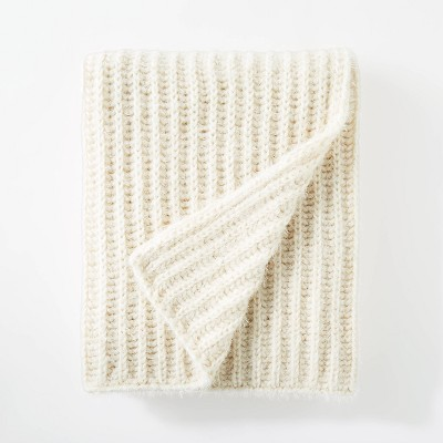 "50""x60"" Eyelash Chunky Knit Throw Cream - Threshold™ designed with Studio McGee"