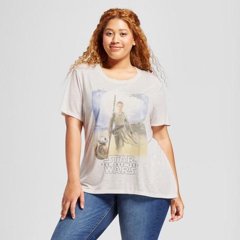 761e00b06e Women s Plus Size Star Wars Rey Short Sleeve Graphic T-Shirt - Ivory