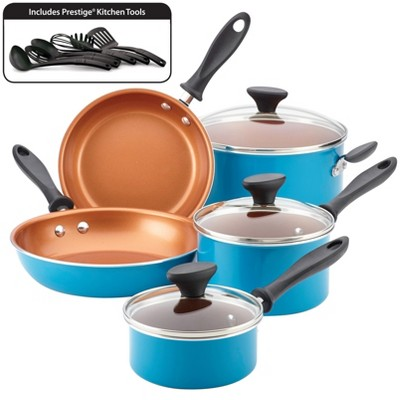 Farberware 14pc Nonstick Copper Ceramic Reliance Pro Cookware Set Aqua