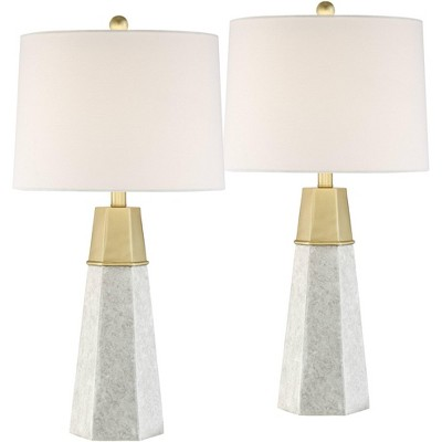 360 Lighting Modern Table Lamps Set of 2 Tapered Column Fabric Drum Shade for Living Room Bedroom Bedside Nightstand Office Family