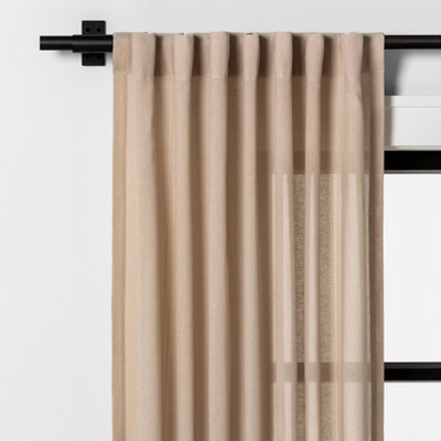 "84"" Leno Plaid Curtain Panel Taupe - Hearth & Hand™ with Magnolia"