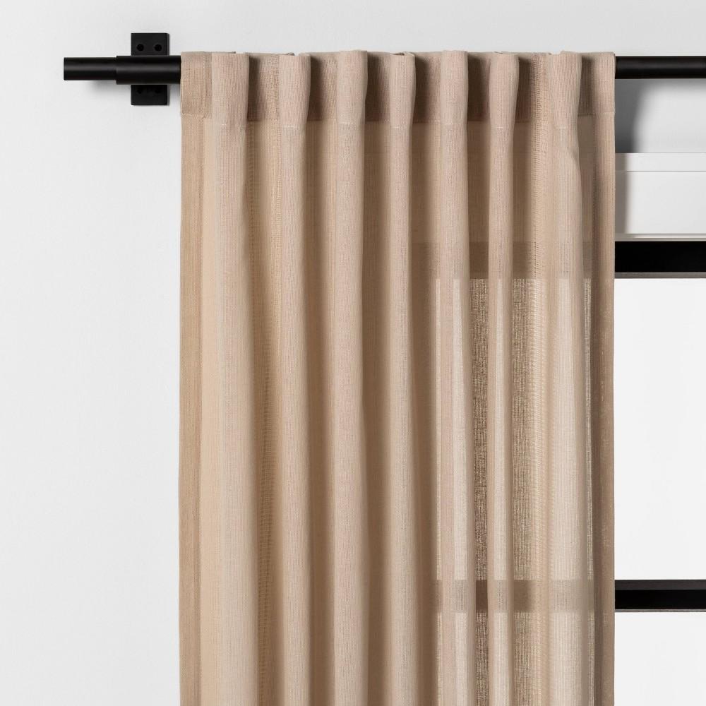 "Image of ""108"""" Leno Plaid Curtain Panel Taupe - Hearth & Hand with Magnolia"""