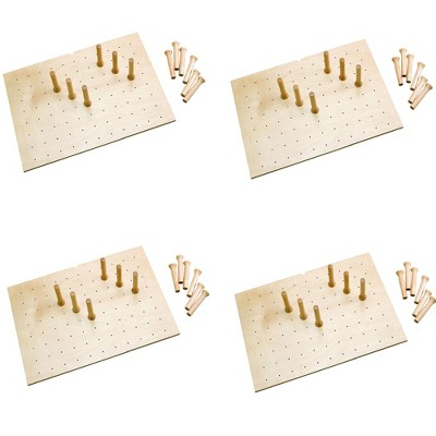 Rev-A-Shelf 4DPS-3021 Medium 30 x 21 Inch Wood Peg Board System for Deep Drawers Organizer with 12 Pegs and Exact Fit Customization, Maple (4 Pack)