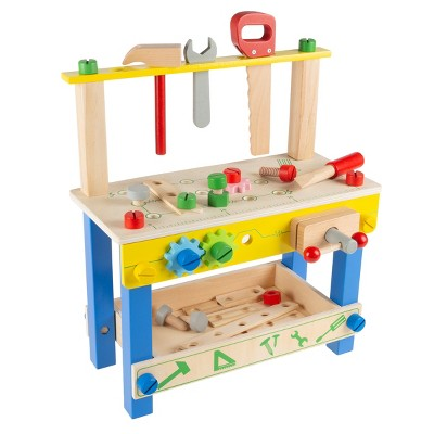 """Toy Time Kids' Wooden Tabletop Toy Workbench With Tools and Accessories for Pretend Play and STEM Activities - 15"""" x 19"""""""