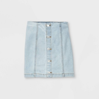 Girls' Button-Front Denim Skirt - art class™