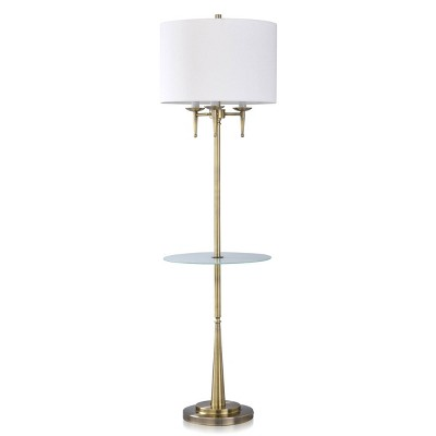 Traditional Candlestick Floor Lamp with Frosted Glass Table Brass - StyleCraft