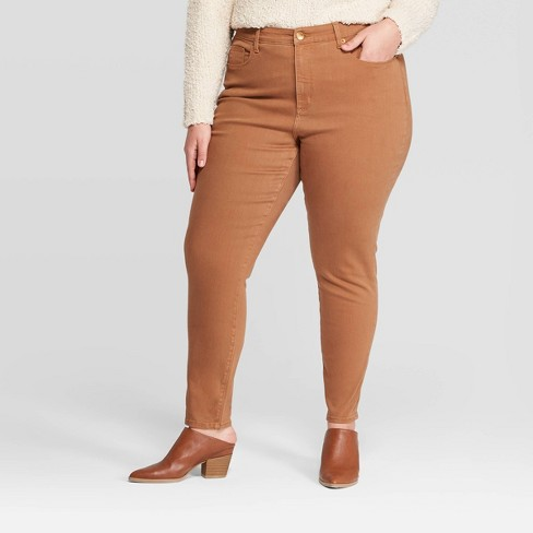 Women's Plus Size High-Rise Skinny Jeans - Universal Thread™ Brown  - image 1 of 3