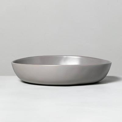 Shallow Stoneware Serve Bowl Matte Gray - Hearth & Hand™ with Magnolia