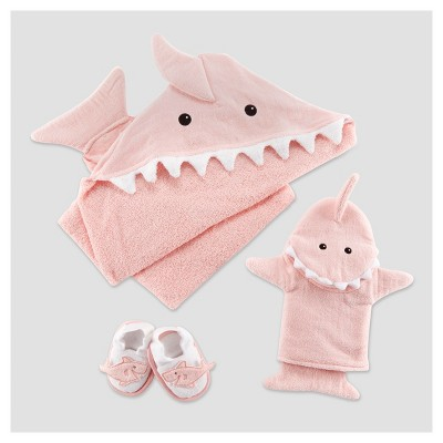 Baby Aspen Girls'  Let The Fin Begin  4pc Bathtime Gift Set - Pink 0-9M