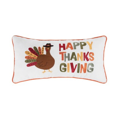"""C&F Home 12"""" x 24"""" Happy Thanksgiving Turkey Embroidered Fall Throw Pillow"""